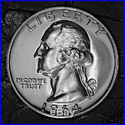 1964 Washington Silver Quarter 90% GEM PROOF ROLL Best Quality 40 Coins