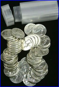 1964 Washington Silver Quarter roll of 40 coins AU/BU White Nice Luster #JAN04