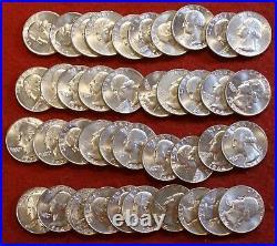 1964-d Washington Quarter Dollar Choice Unc 40 Coin Silver Roll Collector R2