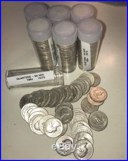 1964 washington quarters, 7 rolls of 40, 90% Silver
