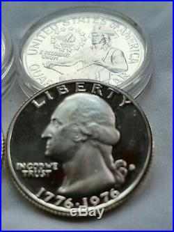 1976 SILVER PROOF bicentennial quarter roll in individual protectors. (40 coins)