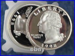 1998-S Washington Silver Quarter Gem Proof Roll of 40 Coins
