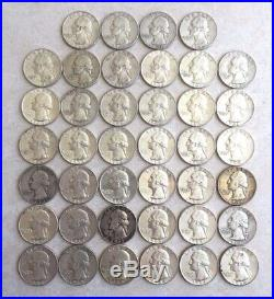 1 ROLL OF 90% SILVER WASHINGTON QUARTERS (40 Coins) CIRCULATED NICE