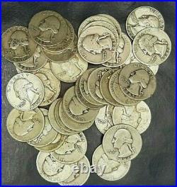 1 Roll (40) 90% SILVER Washington 1932-1964 Quarters Circulated. Lot4