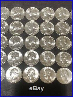 1 Roll BU 1964p Silver Washington Quarters $10 FV Receive Roll Pictured