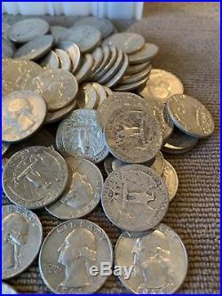 1 Roll Pre 1965 Washington Quarter 90% SILVER(40 Coins) Roll Mixed Some BU