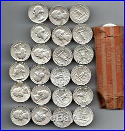 1 roll 401964 90% silver washington quarter