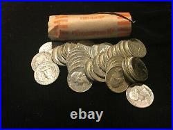 (1) roll Washington Quarters / 90% silver / 1932-1964 / 4 of 10 rolls left / #2