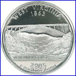 2005-S West Virginia Silver Proof Quarter roll 40 GEM coins $10 Face Value WV