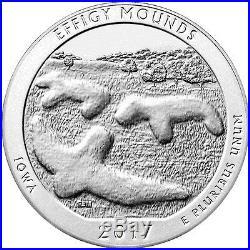 2017 25c 5 Troy oz. Silver ATB America Beautiful Effigy Mounds Roll-10 SKU45276