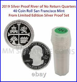 2019 S San Antonio TX Limited Edition. 999 Silver Proof Set 40-Coin Quarter Roll