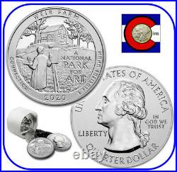 2020 Weir Farm (CT) 5 oz Silver America the Beautiful (ATB) Roll/Tube 10 Coins