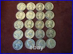 20-Coins Assorted Roll Of U. S. 90% Silver Washington Quarters $5.00 Face Value