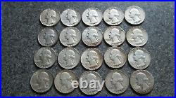 20 Silver Washington Quarters, 1/2 ROLL, VERY VERY NICE cond, 1952'D-1963,20 DIFF