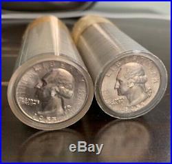 2x 1955 D BU Washington Silver Quarter Roll $20 Lot 80x Coins 25c 90% Silver