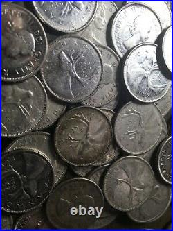 $30 Face Value 80% Silver Canadian Quarters 120 Bullion Canada Coins Lot Rolls