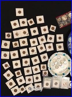 330+ Coins 105+ 90% Silver Coins Halves Dimes Quarters ROLLS & 1909 VDB M73