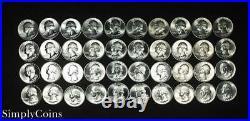 (40) 1941-1950 Washington Silver Quarter Roll BU Uncirculated Coin Lot SKU-7