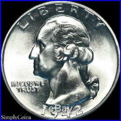 (40) 1942 Washington Silver Quarter Roll BU Uncirculated US Coin Lot