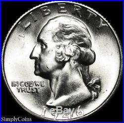 (40) 1946-S Washington Silver Quarter Roll BU Uncirculated US Coin Lot