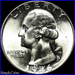 (40) 1946 Washington Silver Quarter Roll BU Uncirculated US Coin Lot