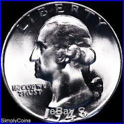 (40) 1948 Washington Silver Quarter Roll BU Uncirculated US Coin Lot MQ