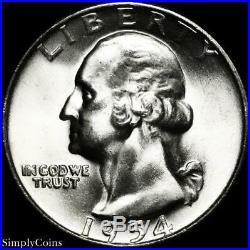 (40) 1954-D Washington Silver Quarter Roll BU Uncirculated US Coin Lot MQ