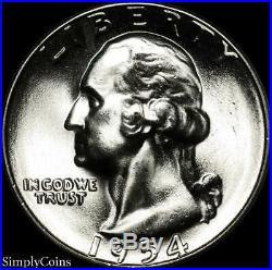 (40) 1954-S Washington Silver Quarter Roll BU Uncirculated US Coin Lot