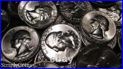 (40) 1955-1964 Washington Silver Quarter Roll BU Uncirculated US Coin Lot MQ