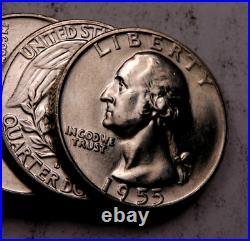 (40) 1955-D Washington Quarter Roll // Gem BU // 90% Silver // Original Roll
