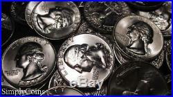 (40) 1960-1964 Washington Silver Quarter Roll BU Uncirculated US Coin Lot MQ