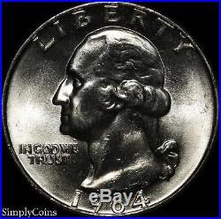 (40) 1964-D Washington Quarter Roll BU Uncirculated 90% Silver US Coin Lot