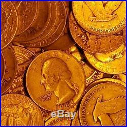 (40) $. 25 Liberty Standing & Washington Quarters 90% Silver 1 Roll $10 Face Lot