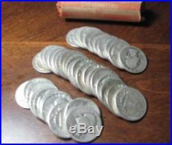 40-Coin Roll 90% SILVER Washington Quarters Pre 1965 Mixed Condition
