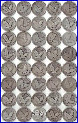 40 Coin Roll Standing Liberty Quarters 90% Silver Mixed Dates Lot $10 Face