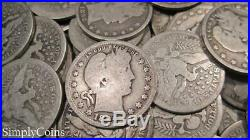 (40) Full Date Barber Quarters Roll Mixed Date 90% Silver Coin Lot