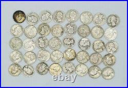 (40) Mix Dates Washington 90% Silver Quarter Roll Higher Grade