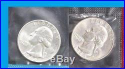 40 Silver BU Washington quarter Mint set Cello 1964 PD roll lot