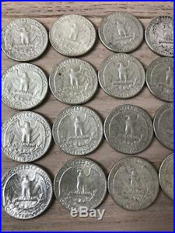 40 Washington Quarters All Dated 1964 Mixed Mints Full Roll of 90% Silver Coins