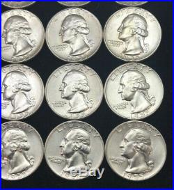 (40pc) ROLL OF BU 1955 D 90% SILVER WASHINGTON QUARTERS BU 25c Original Roll