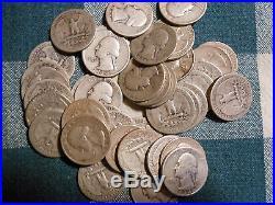 4 Rolls 90% Silver Washington Quarters-$40 Face Value-160 Coins