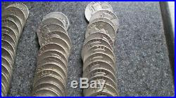 5 ROLLS, 200 MIXED DATES WASHINGTON SILVER QUARTERS, VERY NICE cond, 1940-1964'D