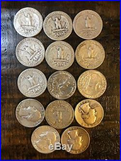 5 Rolls Of 40 And Extra 90% Silver Washington Quarters. 214 Quarters Total