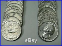 5 Rolls Washington Silver Quarters 1962-d 63 63-d 64 64-d = 200 Coins