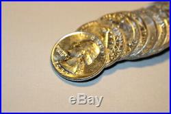 #6168, Roll(40)GEM BU 1955-D Washington Silver Quarters