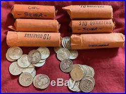 6 Rolls Washington Quarters Silver Bullion 240 Coinscirc Grab Bag Silver