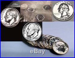 $7.05 Proof Silver Face Value 1960-64 Roosevelt Dimes Roll Plus 1957 Pf Quarter