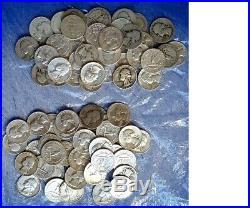 80 Washington 90% Silver Quarters 2 Rolls $20 Face Value