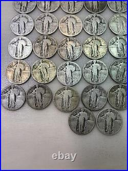 82 ($20.50)STANDING LIBERTY SILVER QUARTERS 2 ROLLS- FULL DATES Most P 1925-30