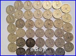 90% SILVER WASHINGTON QUARTERS (40 Coins) PER ROLL